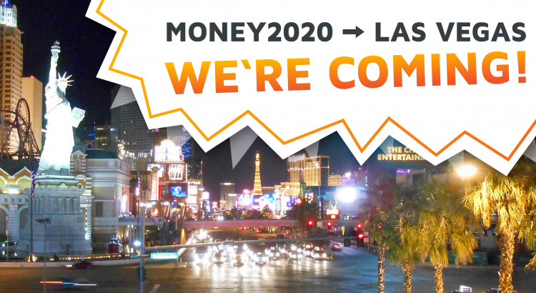 The city of Las Vegas by night with writing stating balancr is going to Money20/20 US 2017.