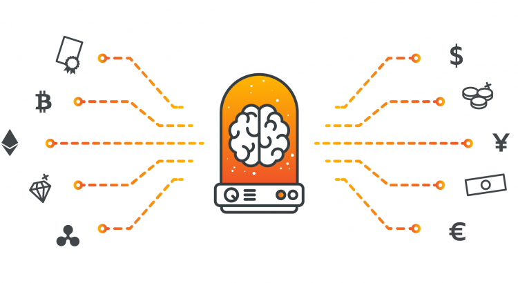 An electric brain in a jar, symbolizing artificial intelligence and robo-advisory, from which currencies and financial assets branch off