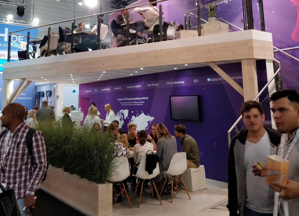 At DMEXCO, companies pulled out all the stops to get attention – multi-level coffeeshop booths included.
