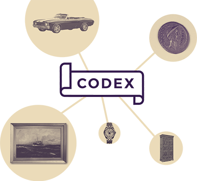 Logo of the Codex blockchain protocol, with lines connecting it to different types of art and artisan craftwork