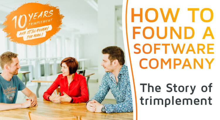 The trimplement co-founders Thijs Reus, Natallia Martchouk und Matthias Gall sitting together and discussing the foundation of their software company trimplement